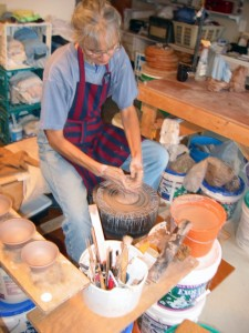 Barbara Zaveruha at a pottery wheel